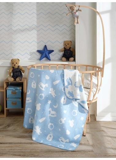 Komfort Home Komfort Home Pamuklu Bebek Battaniyesi 90X120 Cm / Mavi Mavi